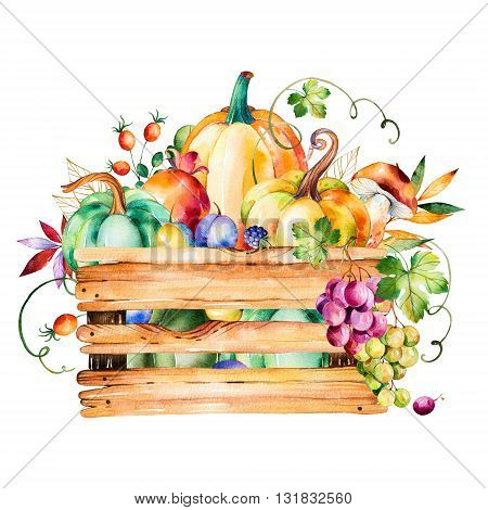 Autumn harvest basket with fall leaves, branches, berry, blackberry, mushroom, pumpkins, walnut, grapes vine, prunes, pomegranante, wooden basket and more.
