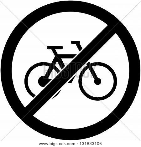 No bicycle, bike prohibited symbol. Sign indicating the prohibition or rule. Warning and forbidden. Flat design. Vector illustration. Easy to use and edit. EPS10.