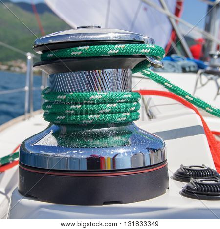 The wound on the winch rope green. Regatta