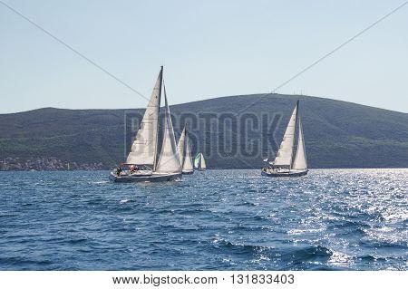 Tivat, Montenegro - 26 April, Race yacht off the coast, 26 April, 2016. Regatta