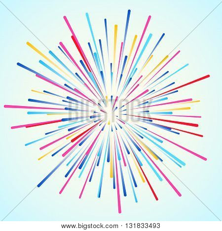 Colored bright star explosion dynamic rays vector background