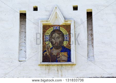 VOLOGDA, RUSSIA - MAY 29, 2013: The Spaso-Prilutsky Monastery. This is the mosaic icon of Christ outside the fortification's walls.