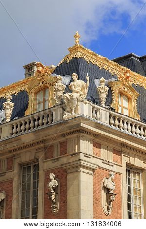 VERSAILLES, FRANCE - MAY 12, 2013: Palace of Versailles. These are architectural fragments of decoration mansion's roof.