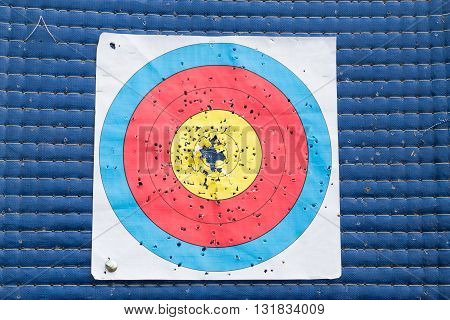 Closeup On Used And Worn Out Outdoor Archery Target Board