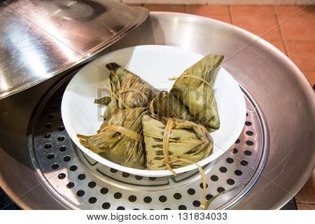 Chinese Rice Dumplings Or Zongzi In Wok For Steaming