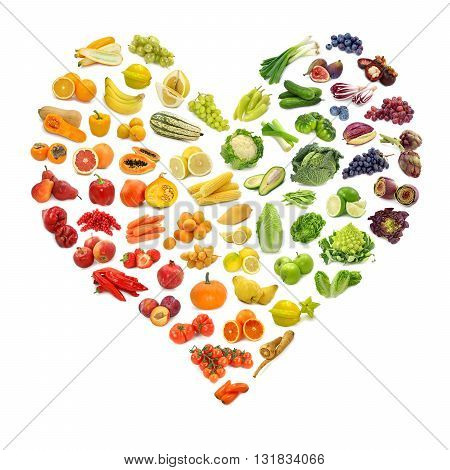 Rainbow heart of healthy fruits and vegetables
