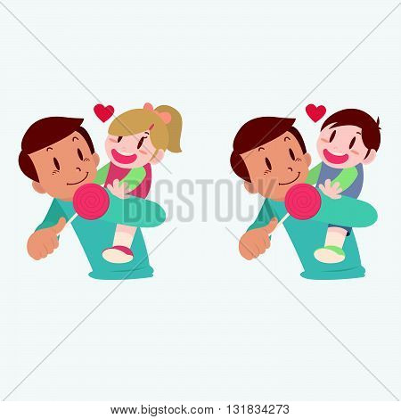 Vector illustration of family, father and daughter