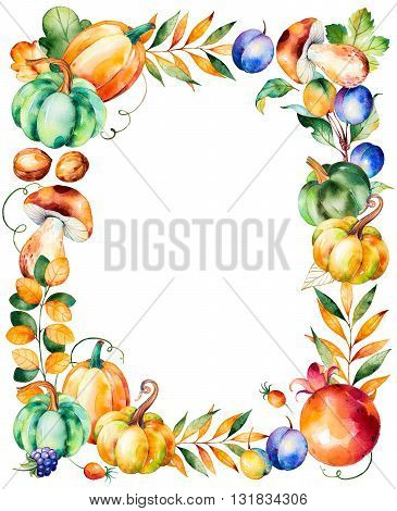 Beautiful watercolor frame border with with fall leaves, branches, berry, blackberry, mushroom, pumpkins, walnut, pomegranate, prunes and more.