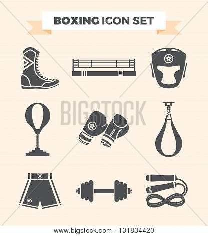 Set of boxing equipment vector monochrome design elements isolated on beige background. Vector Illustration.