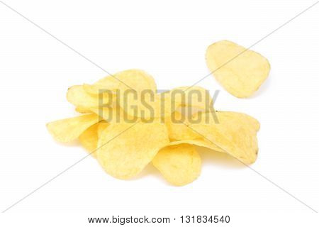 Fried salted potato chips isolated on white background