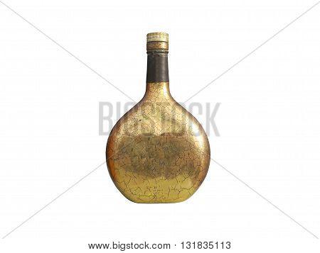 retro bottle whisky on isolated white background