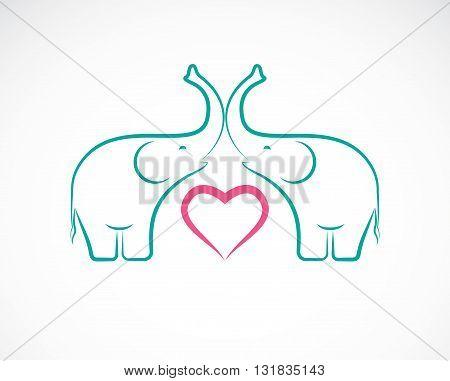 Vector image of elephant and heart on white background Elephant Icon Logo Elephant Design.