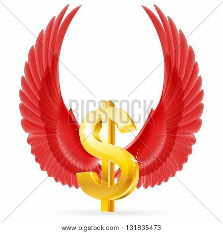 Golden United States dollar symbol with raised up red wings