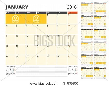 Calendar Planner Template for 2016 Year. Vector Design Print Template. Week Starts Monday. Calendar Grid with Place for Photos and Notes. Set of 12 Months