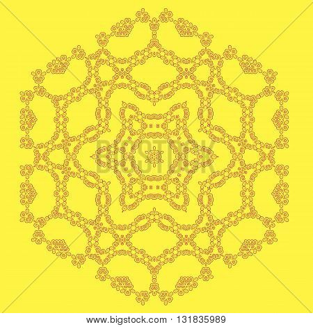 Round Geometric Ornament Isolated on Yellow Background