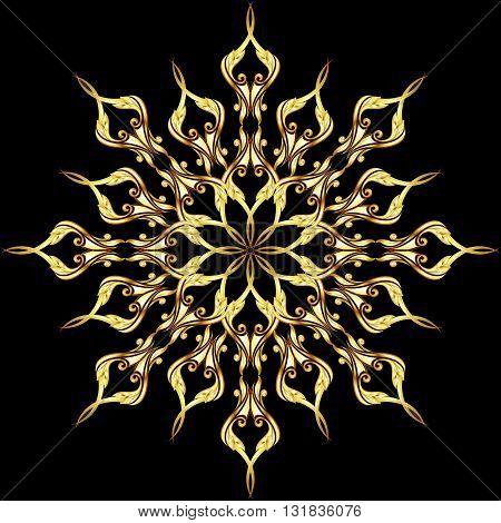 Gold ornate floral pattern on the black background