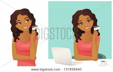 Cute woman shopping on line holding credit card isolated