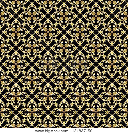 Seamless saturated gold floral pattern on black background