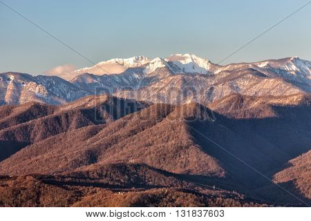 Snow covered mountain peaks in Sochi, Russia