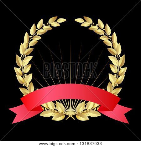 Gold laurel wreath with red ribbon isolated on black background. Contain the Clipping Path