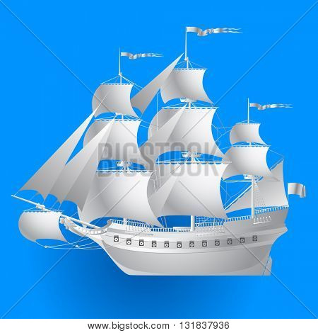 Paper sailing ship on blue background. Contain the Clipping Path