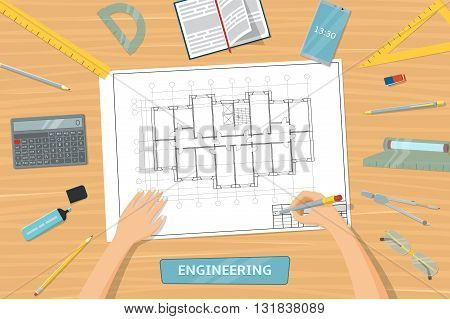 View from the top of table with tools for drawing. Designer draws the plan of the house. Hands of engineer. Architect sketching a construction project. Vector illustration.
