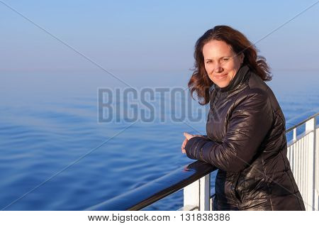 Caucasian Woman On The Deck Of Cruise Ship