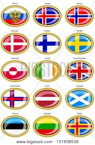 Set of icons. Flags of the Northern Europe.