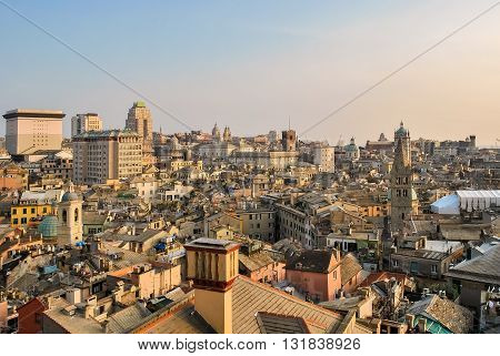 Aerial view of the downtown of Genoa during the sunset