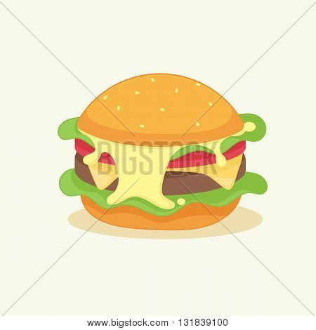 burger with cheese, chicken meat, lettuce, tomato and sauce