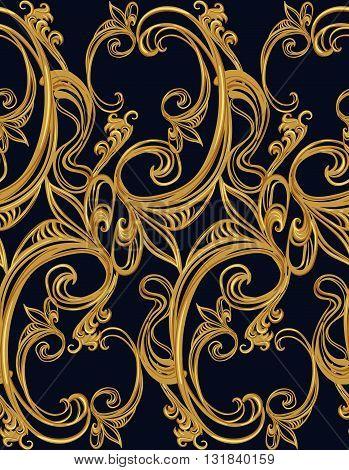 Baroque gold seamless pattern on a dark background.