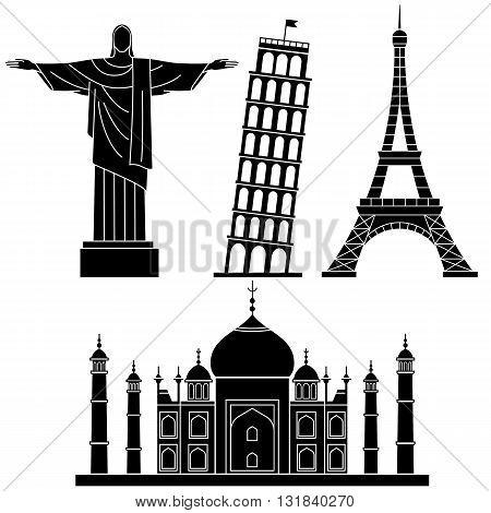 World Landmarks Statue of liberty, Eiffel Tower, Leaning Tower of Pisa, Taj Mahal . Vector flat icons set.