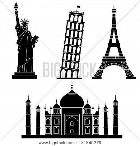 World Landmarks Eiffel Tower, Leaning Tower of Pisa, Taj Mahal . Vector flat icons set.