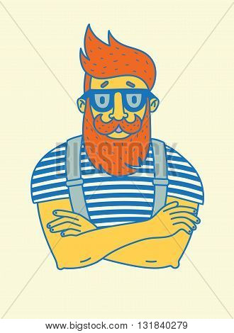 vintage hipster, painted by hand with a stylish beard and mustache