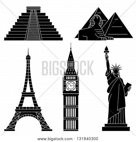 World Landmarks, Eiffel Tower, Big Ben, Chichen Itza, Sphinx. Vector flat icons set.