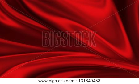 red silk background. Waves of red silk full screen. Abstract elegant background for your project.