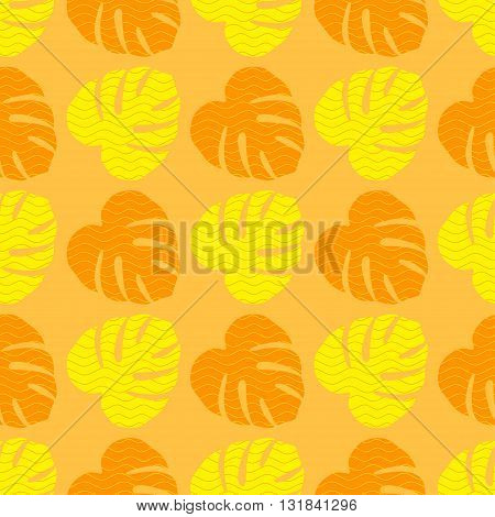 Seamless texture with flat orange and yellow leaves. Monstera.Patterns for cloth
