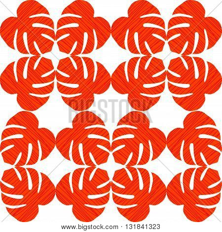 Isolated seamless texture with flat orange and red leaves. Monstera.Patterns for cloth