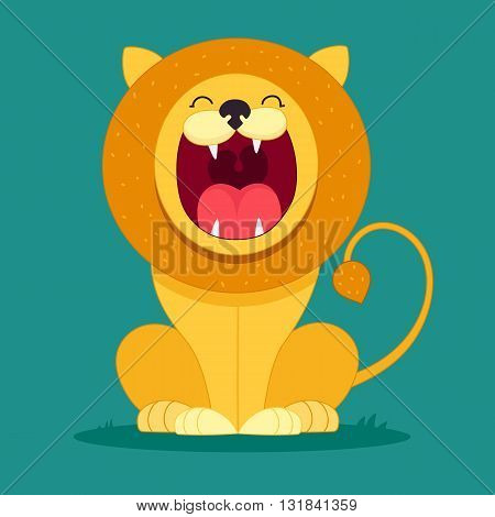 cartoon lion sits and snarls, character for kids, funny