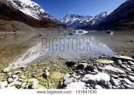 Beautiful reflection of a mountain peak, New Zealand.