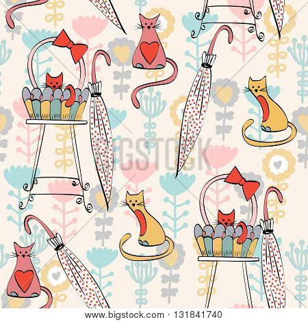 Vector background with cats. Seamless pattern can be used for wallpapers, pattern fills, web page backgrounds, surface textures