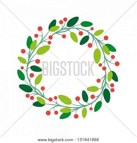 Vector simple round fresh floral frame design.