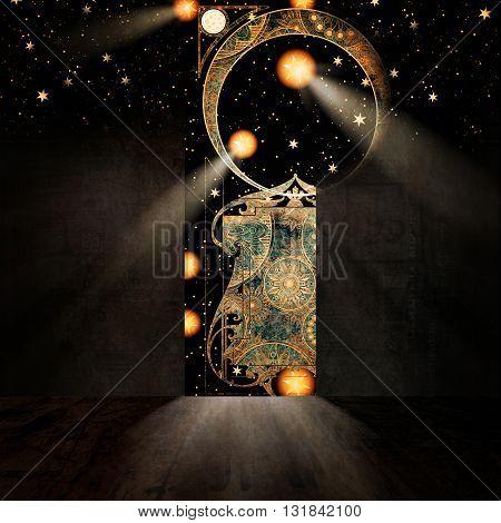 Symbolic representation of gate to paradise 3D illustration