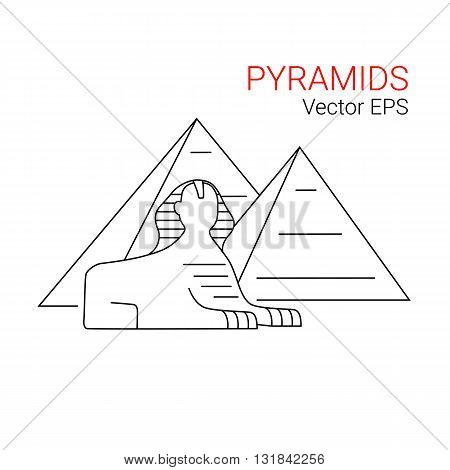 Sphinx and Pyramid, Egypt. Vector line icon isolated on white background.