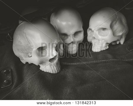 Still life with skull on canvas military Concept soldier