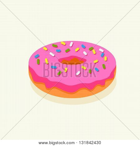 Pink donut with icing on white background