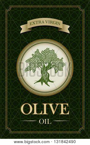 Vector olive oil label design with olive tree illustration.