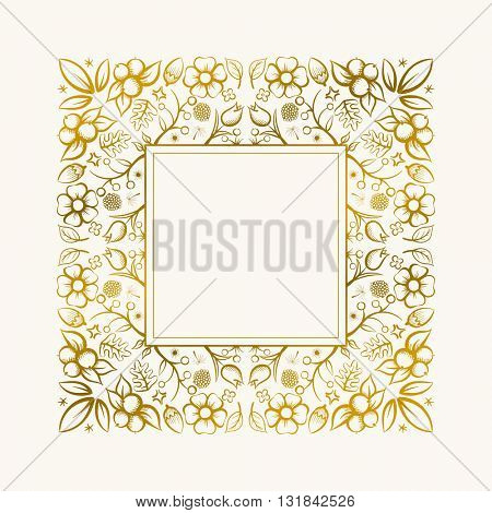 Vector hand drawn frame. Border is made with seamless pattern with flowers and leaves.