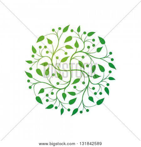 Vector simple round floral design.