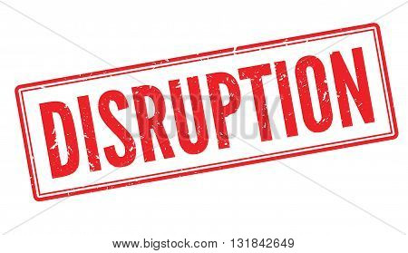 Disruption red rubber stamp on white. Print impress overprint.